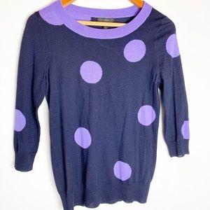 J. Crew black and purple polka dot sweater